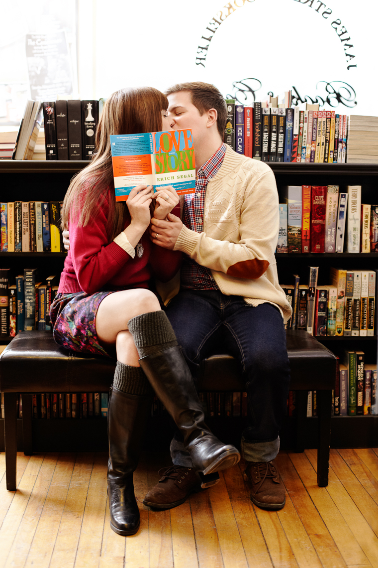 Lovers in bookstore